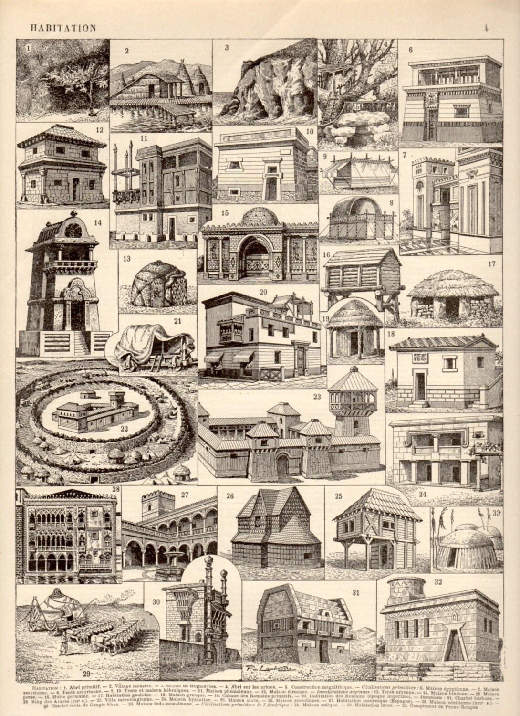 Primitive Architecture 1897 Antique Print Vintage