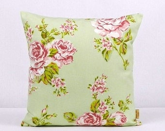 16x16, pillow, throw pillow cover, Decorative Throw pillow, English Rose, Sage Green, throw pillow , Floral pillow case, 16 inch, handmade
