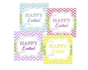 Instant Download - Easter Tags / Chevron Print