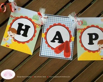 Wizard of Oz Birthday Party Banner Happy Dorothy Girl Red Shoes Flowers 1st 7th 6th 8th 9th Boogie Bear Invitations Decoration Ruby Theme