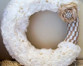 white wreath,ruffle wreath,shabby chic wreath, door wreath, burlap wreath, year round wreath