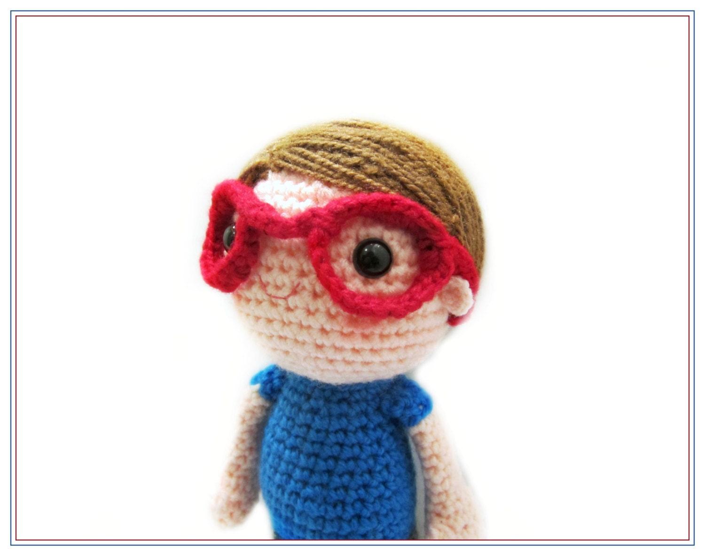 Amigurumi Glasses : Crochet Boy with Red Glasses Doll Amigurumi Stuffed Toy