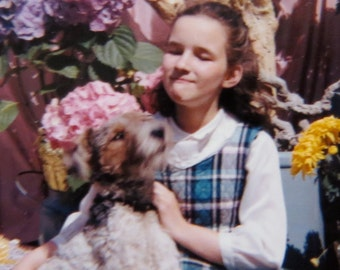 Adorable 1950's Little Girl and Her Best Friend Color Snapshot Photo - Free Shipping
