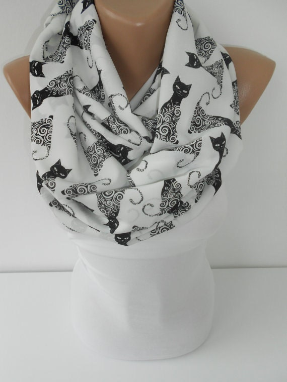 Cat Scarf Cat Print Scarf Infinity Scarf Winter Scarf Women Fashion Accessories Christmas Valentines Day Mothers Day Gift Ideas For Her S