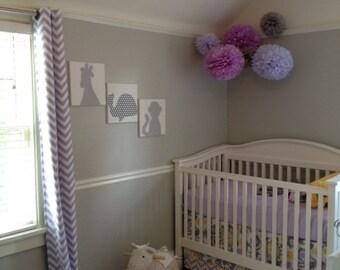 Purple Tissue Paper Pom Pom Set / 5 Tissue Pom Poms /  Purple Plum Lavender Lilac Nursery Decoration / Purple Baby Shower / DIY nursery