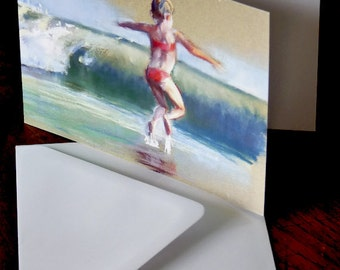 Leaping Waves. Greetings card from an original pastel painting