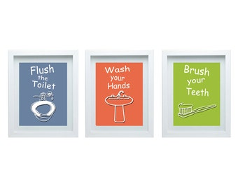 3d Bathroom Rules Art Kids Bathroom Decor Set Of 3 8x10 Kids Bathroom Wall Art