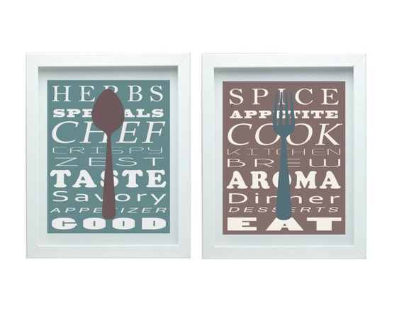 Kitchen Wall Art Kitchen Decor Teal Taupe Wall Art Dining Room