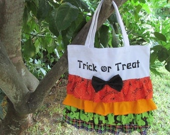 "Ruffled ""Trick or Treat"" embroidered Halloween Bag"