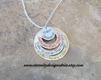 Personalized Hand Stamped Necklace Family/Mothers/Grandmother's Necklace/Couples/Wife necklace/Kid name necklace/Name necklace/mom/grandma