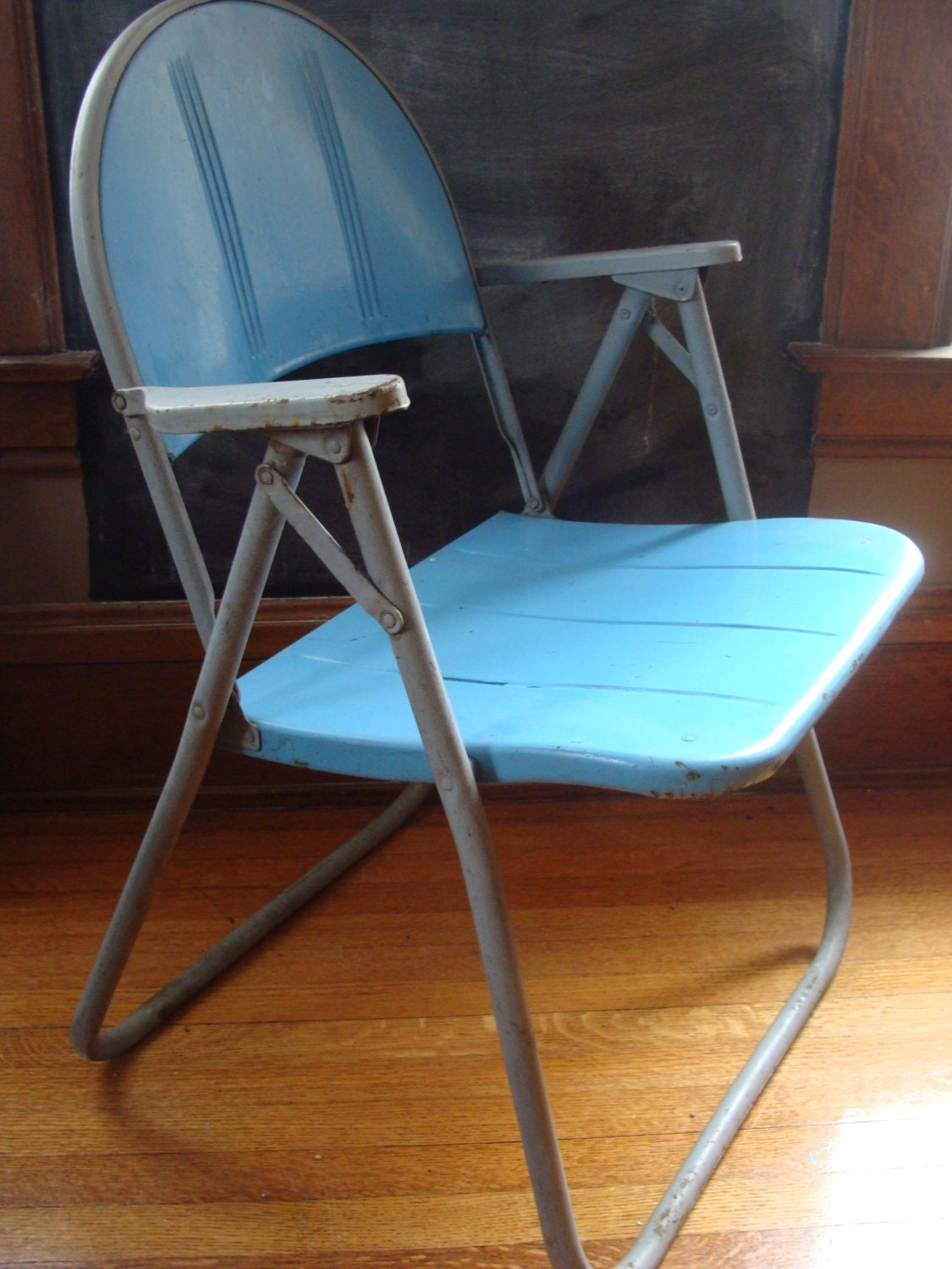 vintage metal chair folding lawn chair by macandmarys on Etsy