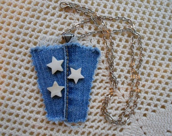 Necklace - 3 shell stars on denim seamline recycled upcycled vintage denim, 24 inch antique silver-tone chain denim jewelry