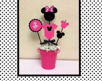 Handmade minnie mouse baby shower etsy - Minnie mouse baby shower decorations ...