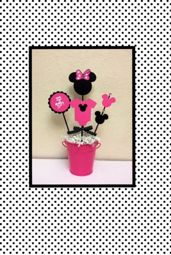 Minnie mouse baby shower decoration centerpieces its a girl for Baby minnie mouse decoration ideas