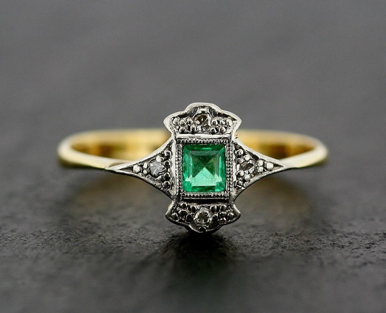 Art Deco Emerald Ring Antique Art Deco Emerald & Diamond  Art Deco Emeral...