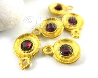 5 pc Dished Mini Gold Disc Charms with Damson Rhinestone, Turkish Jewelry