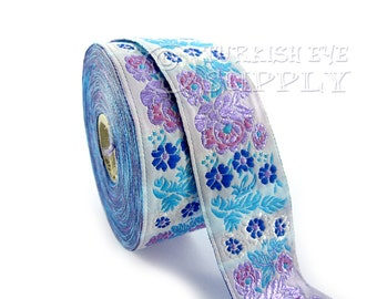 Floral Woven Border Embroidered Ribbon Sewing Trim Purple Blue Lilac Jacquard Ribbon 1 Meter ( 1.09 Yards, 3.3 feet )