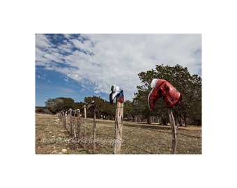 Red White and Boots Fine Art Photography Western Art Home Decor Ranch house chic Texas Hill Country Landscape Fence line Quirky folk art
