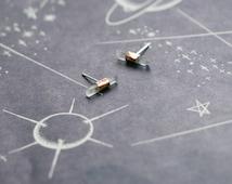 Minimal Copper Wrapped Quartz Crystal Studs - Earrings