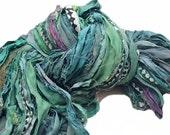 Sari Silk Ribbon 50 +/- yards (80-100 grams) Fiber Art Supply, Scrapbook Supply, Craft Supply, Jewelry Supply Recycled Silk Ribbon