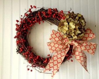Red berry wreath with sage hydrangea. christmas wreath. wreath for christmas. holiday wreaths. front door wreath. christmas decor.