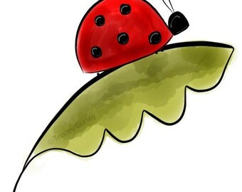 Ladybug on Leaf - Original art download 4 files, printable ladybug clip art