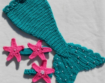 Handcrafted Crocheted Mermaid Photo Prop - Made to Order in your Choice of Colors - 3-6 Months