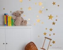 Gold Stars Wall Decal Vinyl Sticker Nursery - Golden Vinyl Stars -- Kids Vinyl Wall