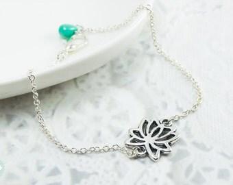Lotus bracelet, silver bracelet, lotus, silver lotus, cute bracelet, friendship bracelet, charm bracelet, silver lotus charm