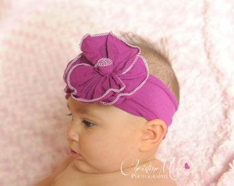 Baby headband, baby girl headband, purple flower headband, purple headband, girl headband,head wrap, newborn girl headband,infant headband,