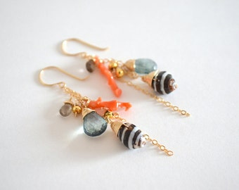 Shell, Peach Coral Branch, Teal Quartz Gemstone Cluster Dangle Earrings, Gold Filled