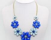 Blue Bubble bib Necklace, Statement necklace, Fashion Necklace, Fashion Jewelry, Vintage Necklace, PF007