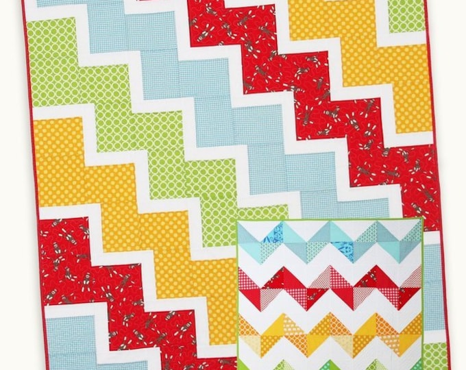 Ziggy Baby Quilt Pattern #120 by Cluck Cluck Sew - Like Two Patterns in One - 2 Sizes - Beginner (W744)