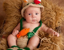 Crochet baby newborn through 12 mos fishing fisherman outfit photography prop