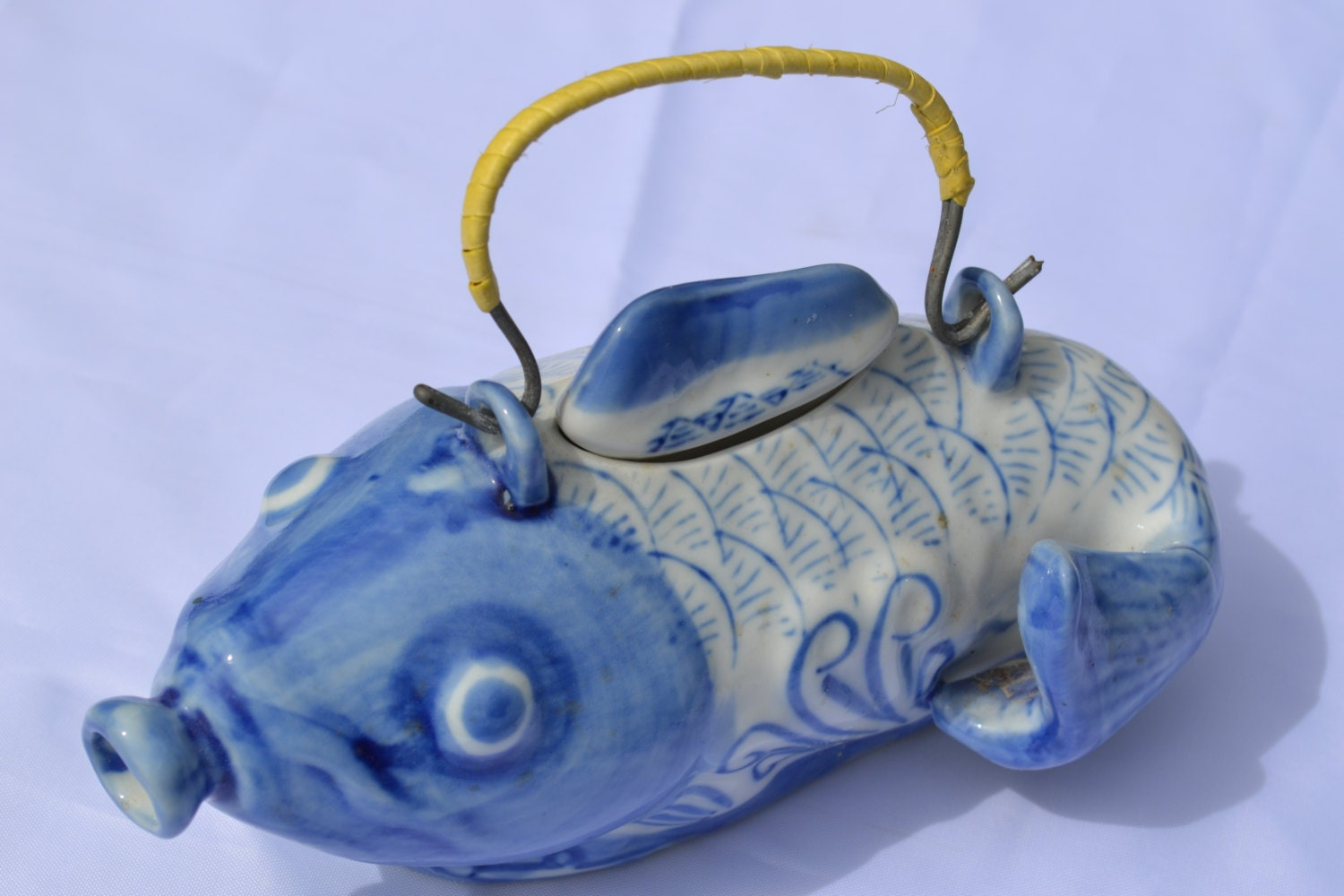 Sale vintage asian blue and white koi fish teapot with woven for Blue and white koi fish