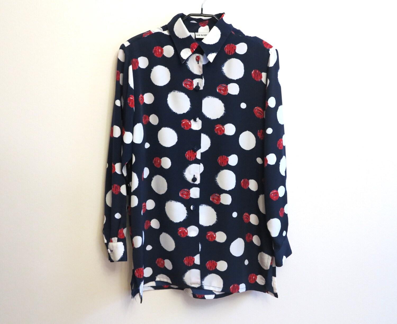 Navy blue white red polka dot blouse womens shirt long sleeve for White red polka dot shirt