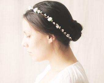 Flower crown, Bridal halo, Rustic wedding hair accessories, Circlet, Floral headband - MAYA