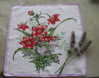 Floral 1940s handkerchief hankie fine cotton bright floral bouquet red and lilac ladies vintage accessory