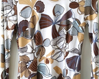 Brown Retro Floral Print Turtleneck Sweater Pullover Roll Neck High Neck Blouse Top Size XS S M L 0 2 4 6 8