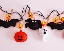 Halloween Lights Garland, Halloween decoration, Bat spider and pumpkin
