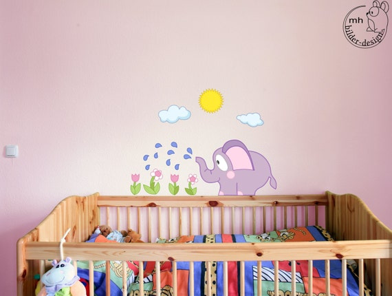 wandtattoo elefant stoffserie kinderzimmer afrika von mhbilder. Black Bedroom Furniture Sets. Home Design Ideas