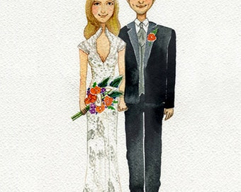 Custom wedding illustration ,An original watercolor wedding portrait ,Custom Wedding Portrait, custom illustration.