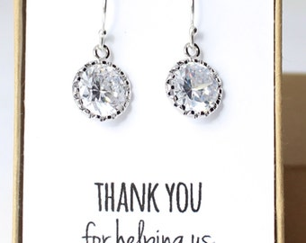 Round Cubic Zirconia / Silver Earrings - Crystal Bridesmaid Earrings - CZ Earrings - Bridesmaid Gift - Crystal and Silver Earrings CZ1 - Z1