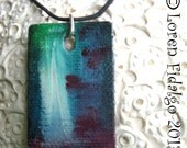 Original Modern Abstract Petite Hand Painted Necklace Pendant 'WaterFall' In Oil Minature With Black Waxed Cord