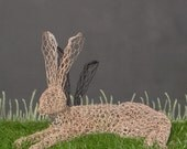 Relaxing Hare wire sculpture, garden ornament, figurine