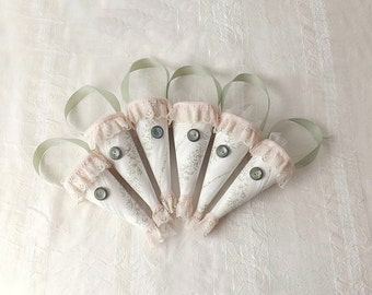 6 Cottage Pink and Green Wedding Cones Unique Packaging Knob Hangers Pew Cones
