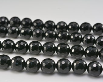 black onyx faceted round beads - faceted stone beads - black faceted beads - faceted beads wholesale  - faceted round beads 3-20mm -15 inch