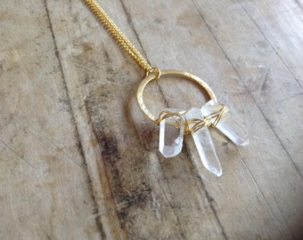 Triple Quartz Crystal Point Circlet Necklace