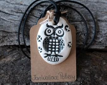 Handmade Ceramic Owl Pendant Necklace - Black and White