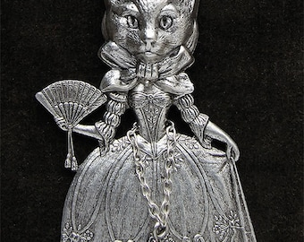 "necklace ""masked ball"" articulated marquise cat's head with chatelaine star"